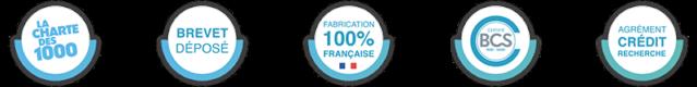 Qualité continuum : charte des 1000, brevet déposé, fabrication 1000% française, certifié BCS, agrément crédit recherche